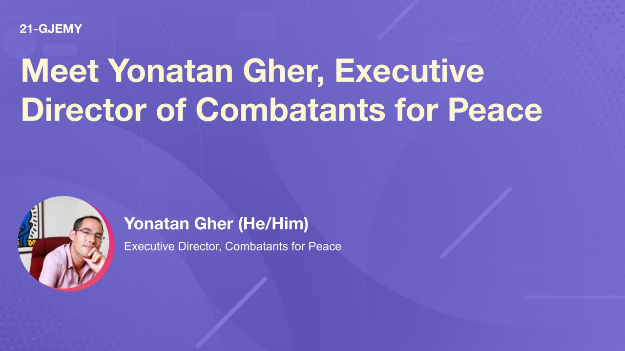 Meet Yonatan Gher, Executive Director of Combatants for Peace