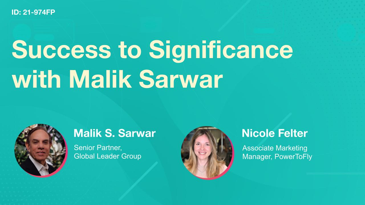 Success to Significance with Malik Sarwar
